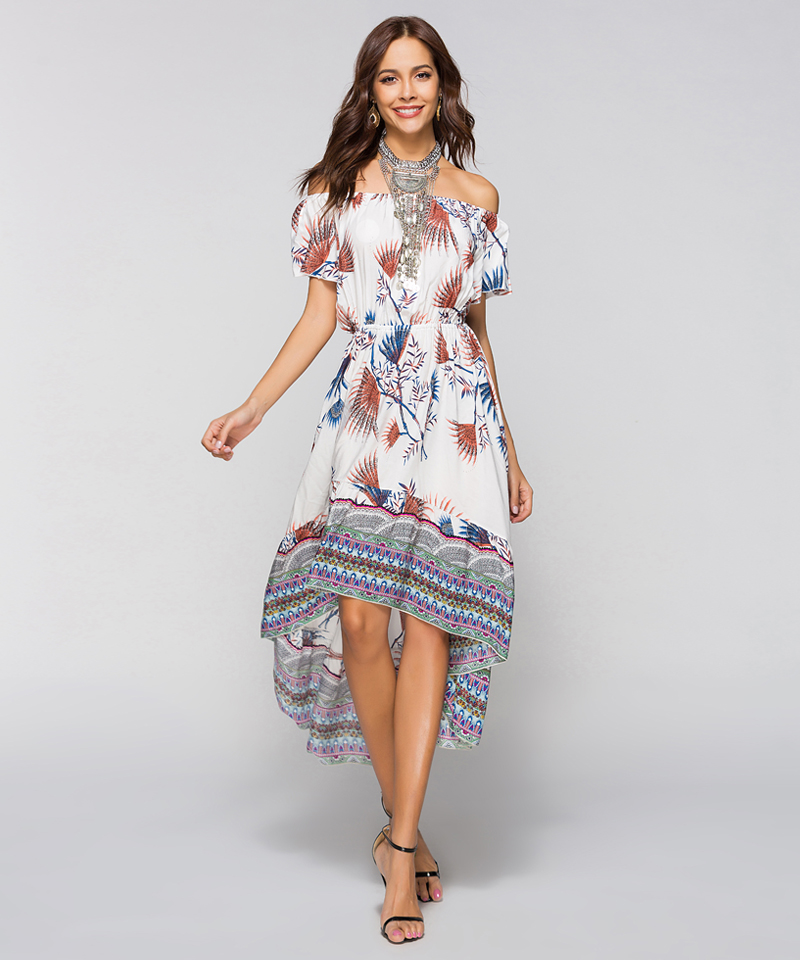 Women Summer Off Shoulder Bohemian Dress Boho Mid-Calf Wrap Dresses Casual Loose Beach Floral Print Beachwear Vestidos 8