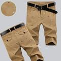 Бесплатная доставка 2016 печать плюс размер повседневные шорты мужские свободные прямые до колен брюки капри 100% хлопок шорты четыре цвета
