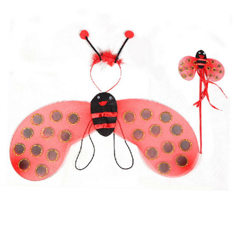 Kids Bee Ladybug Wings Headband Magic Fairy Wand Girls Girls Princess Party Party Cosplay Costumes զգեստ Դեկոր Հելոուին Սուրբ Ծնունդ