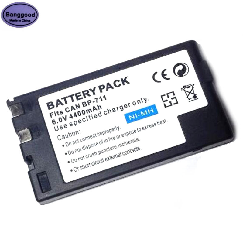 Nice 6.0v 4400mah Bp-711 Bp711 Bp 711 Digital Camera Battery For Canon Bp-714 Bp-726 Bp-818 Bp-e718 Bp-e722 E06 E09 E230 E350 E50 E40 Battery Packs