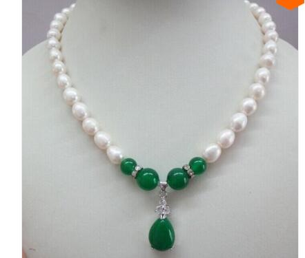Lovely Fine 9 11MM Natural south sea Genuine White Pearl Necklace green gem pendant 17inch Nobility Woman's jewelry Girl gift