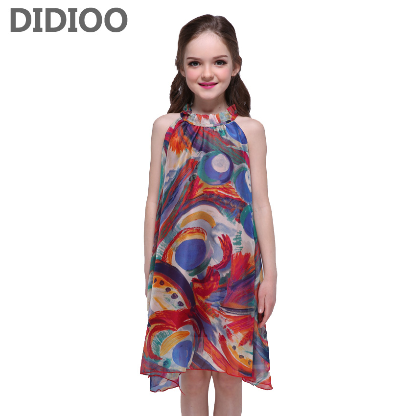 Kids Dresses for Girls Summer Chiffon Bohemian Vest Dresses Children Print Vestidos Teen Girls Beach Dresses 8 14 Years Sundress new summer style girls dresses fashion knee length beach dresses for girls sleeveless bohemian children sundress girls yellow 3t