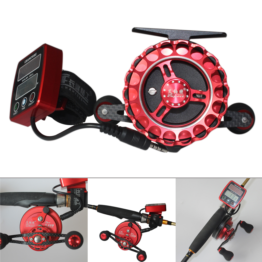 Ratio 3.6:1 Fishing Reels Solar Power Counting Fish Line Wheel + Digital LCD Display With Aluminum Spools & Rubber Cranks