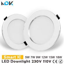 Diodo emissor de luz downlight 3w 5 7 9 12 15 18 redonda recesso lâmpada 220v 230v 240v 110v lâmpada quarto cozinha iluminação local interior
