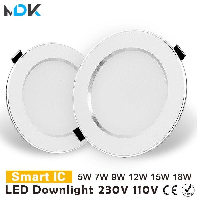 LED Downlight 3W 5W 7W 9W 12W 15W 18W yuvarlak gömme lamba 220V 230V 240V 110V Led ampul yatak odası mutfak kapalı LED Spot aydınlatma