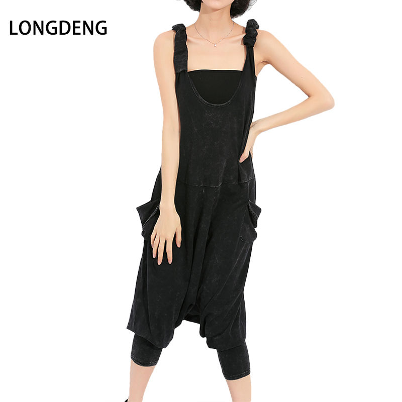 [LONGDENG] Streetwear Spring Sexy Femme Sling Solid Black With Waist Pockets Full Length Loose Womens Jumpsuit Plus Size 1588