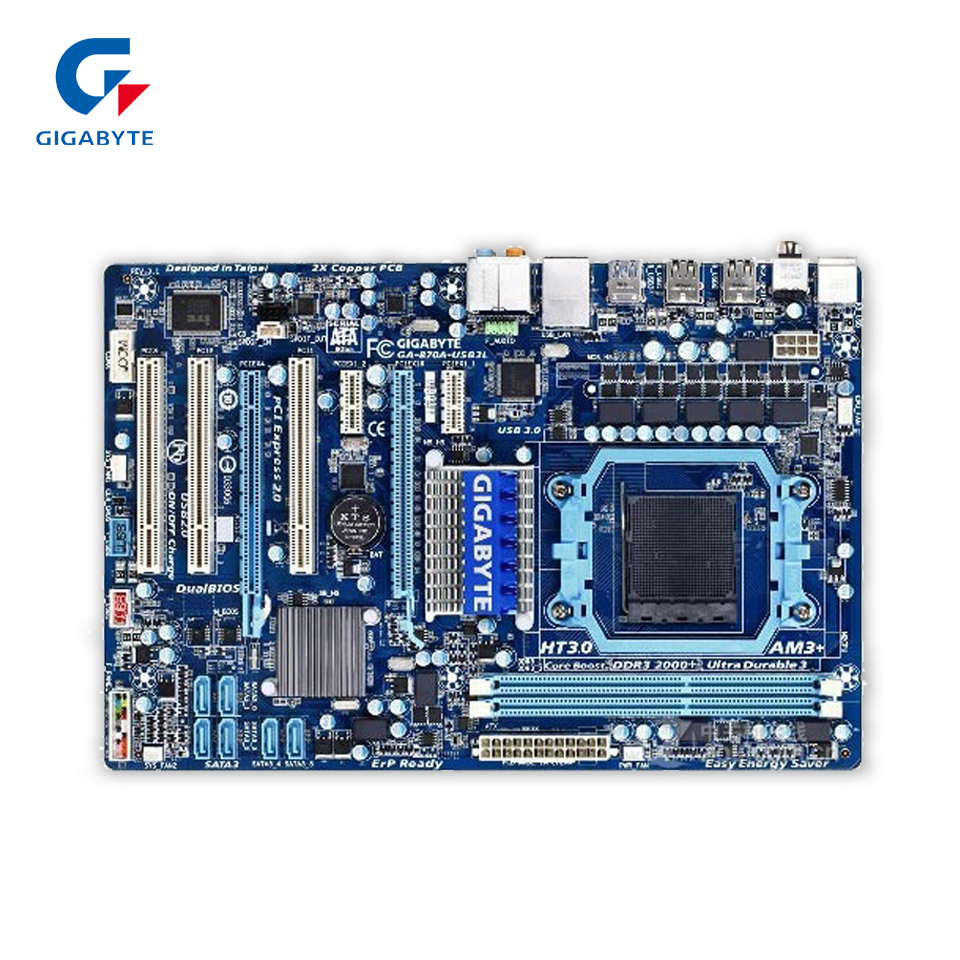 Gigabyte GA-870A-USB3L Original Used Desktop Motherboard 870A-USB3L 870 Socket AM3 DDR3 SATA3 USB3.0 ATX