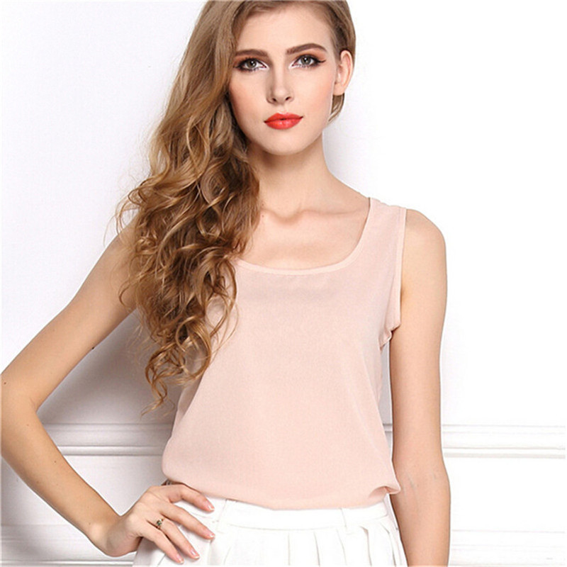Ladies Multicolor Sleeveless Blouse Bodycon Temperament Chiffon Tank Top Women Vest Tops Summer Women Blouses T-shirt Female top