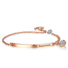 Lanqiao Bracelet For Women Cubic Zirconia Rose Gold Color Link Chain Austrian Crystal Fashion Jewelry Gift Wholesale LQ215 top quality zyh153 simple and noble green crystal rose gold color bracelet jewelry austrian crystals wholesale