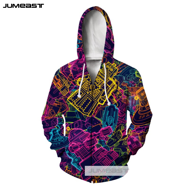 Jumeast 3D Printed Clothes Psychedelic Abstract Men Women Zipper Hoodies Colorful Totems Lines Long Sleeve Jacket Sport Pullover in Hoodies amp Sweatshirts from Men 39 s Clothing