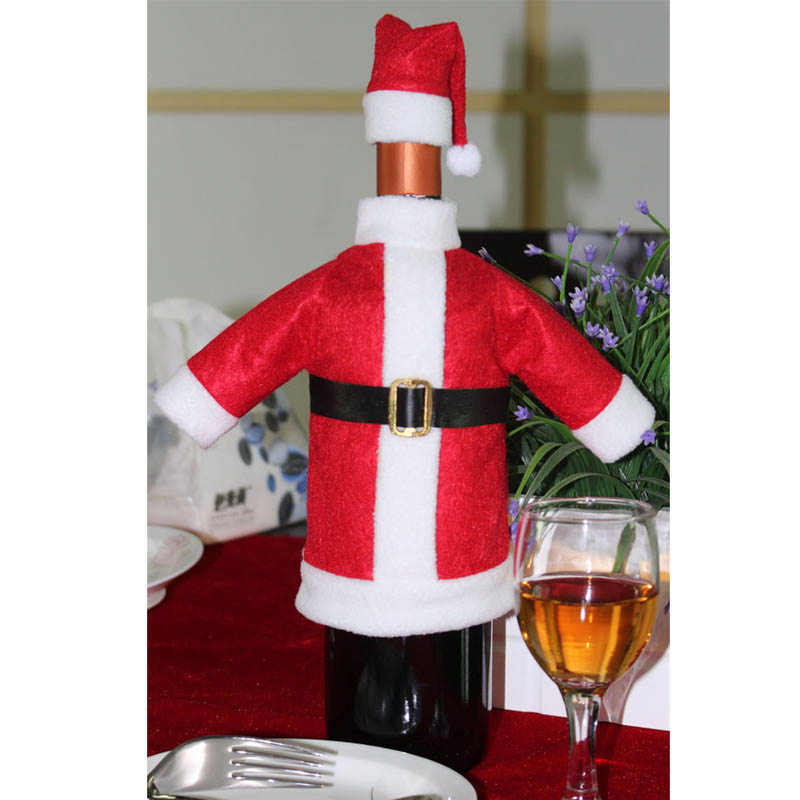 Dust Covers Christmas Wine Bottle Set Santa Claus Hat Decor Bottle Cover Cap Clothes Kitchen Decoration For New Year Xmas Dinner Party Gift Household Merchandises