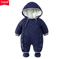 IYEAL Baby Rompers Winter Thick Climbing Clothes Newborn Boys Girls Warm Jumpsuit Fashion Hooded Outwear For