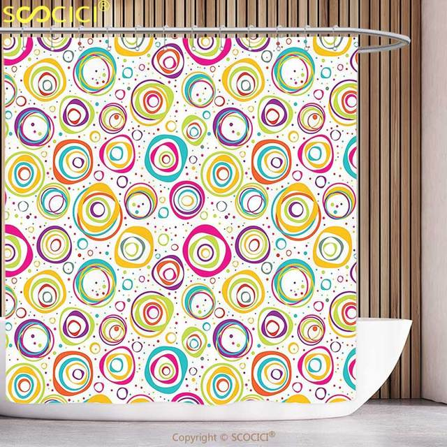 Fun Shower Curtain Geometric Decor Cute Childish Spirals With Funny Dots Bubbles Background Kids Nursery Theme