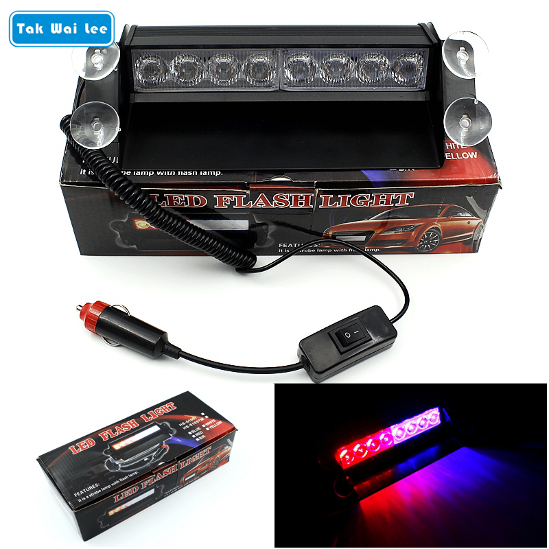 Car Light Assembly Tak Wai Lee 2x8 Led 3 Mode Strobe Flash Warning Light External Car Styling Red Blue Source Fireman Police Beacon Emergency Lamp Curing Cough And Facilitating Expectoration And Relieving Hoarseness
