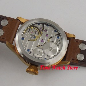 Image 5 - Remontage manuel mécanique, solide, 44mm boîtier en bronze verre de saphir montre pour hommes, matériau lumineux, 17 bijoux, mouvement cor105, 6497