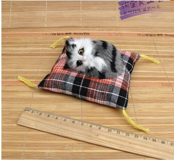 малка симулация големи очи котка играчка сладък мини сива котка кукла декорации за кола подарък кукла около 10cm 0846