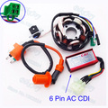 Racing Ignition Coil & Stator Magneto & 6 pin AC CDI For GY6 125cc 150cc ATV Go Kart Moped Scooter ATV Quad Motorcycle Motocross