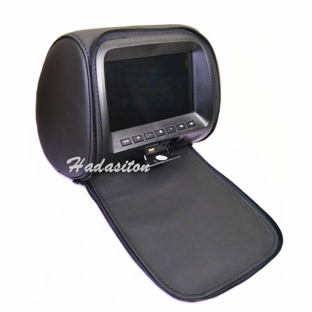 """Универсальный """" сенсорный экран автомобильный подголовник монитор MP5 плеер Подушка монитор Поддержка AV/USB/SD вход/FM/динамик/наушники/Bluetooth - Цвет: Black with zipper"""