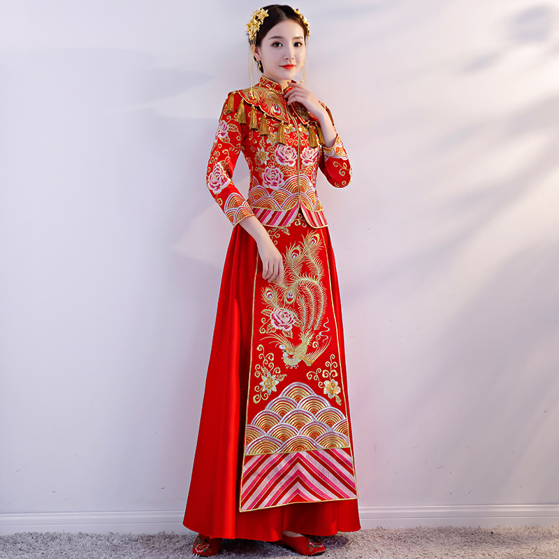 Oriental Asian Bride beauty Chinese traditional Wedding Dress Women Red Floral Embroidery Cheongsam Robe Long Party Qipao style