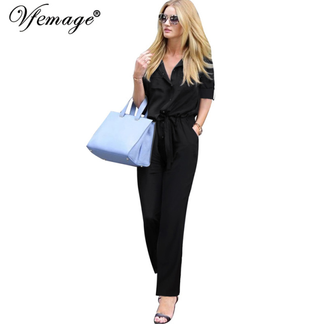 816b0d9a618b Vfemage Womens Elegant Tunic Turn Down Collar Wear To Work Office Business  Casual Bodycon Romper Jumpsuit