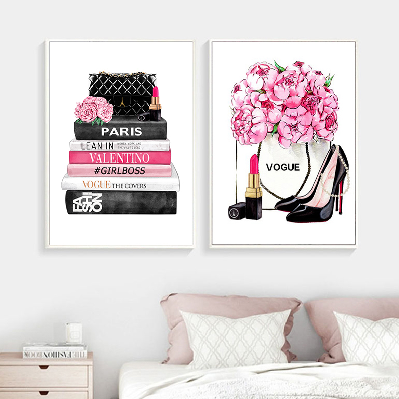 Fashion Magazine Wall Art Prints High Heels And Lipstick Vogue Picture Poster Pink Flowers Canvas Painting Girls Room Home Decor