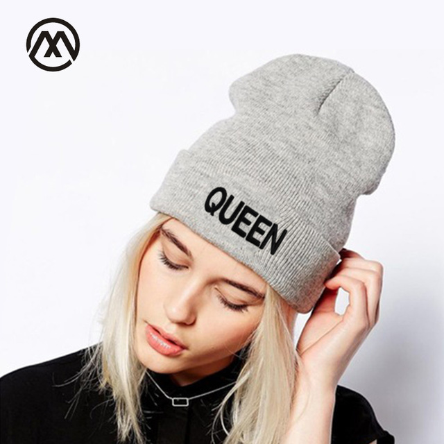 High Quality KING QUEEN Beanies Knit Caps Lover Hats Skullies Winter Men s  Hat Ladies Outdoor Skiing Warmer Cap New Fashion bone 2e54b0a0a53