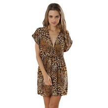 B063 Leopard pattern suit ladies summer dress  high quality V-neck summer dress new arrival sexy fashion loose beach dress