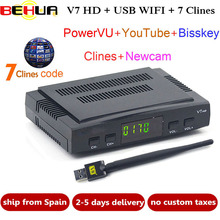 New Satellite TV Receiver decoder free sat V7 HD DVB-S2 + USB Wfi Receptor TV Receiver with 7 lines Europe Cline support powervu