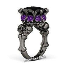 Victoria Wieck Joyería Del Cráneo de la Moda de Las Mujeres anillo de Compromiso Púrpura Gold Filled Regalo anillo de Boda Anillo de diamantes Simulados Cz Negro