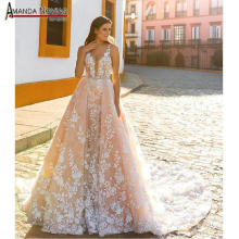 AMANDA NOVIAS robe de soiree champagne wedding dress with