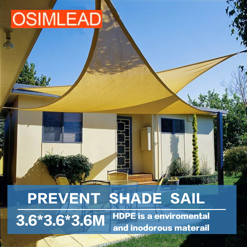 OSIMLEAD 3.6*3.6*3.6m sun shade sail - RECTANGLE CANOPY COVER - OUTDOOR PATIO AWNING 12 * 12 * 12 esspero canopy