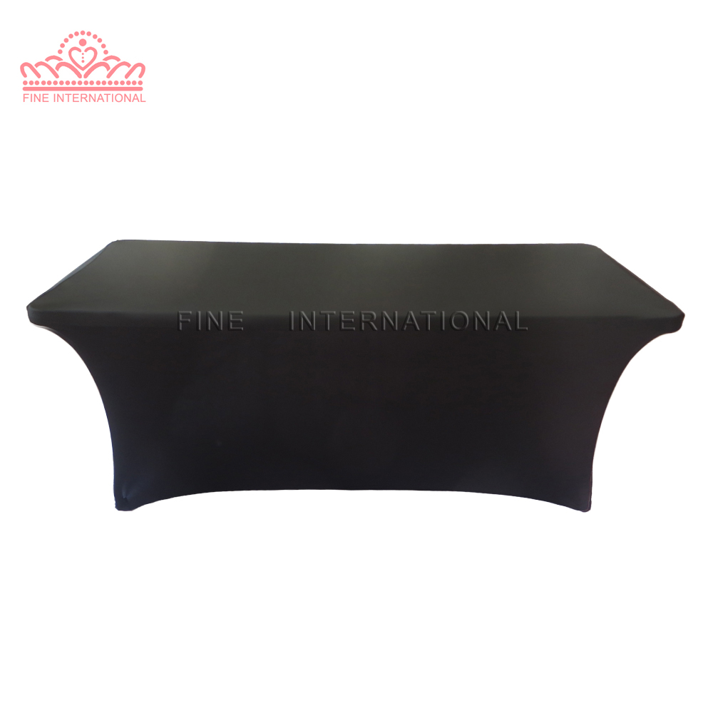 Black rectangular 6ft spandex lycra table cloth cover for 10 foot table cloth