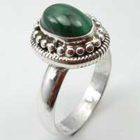 Silver Oval MALACHITE HANDMADE Ring Size 8.75 ! Birthstone Jewelry