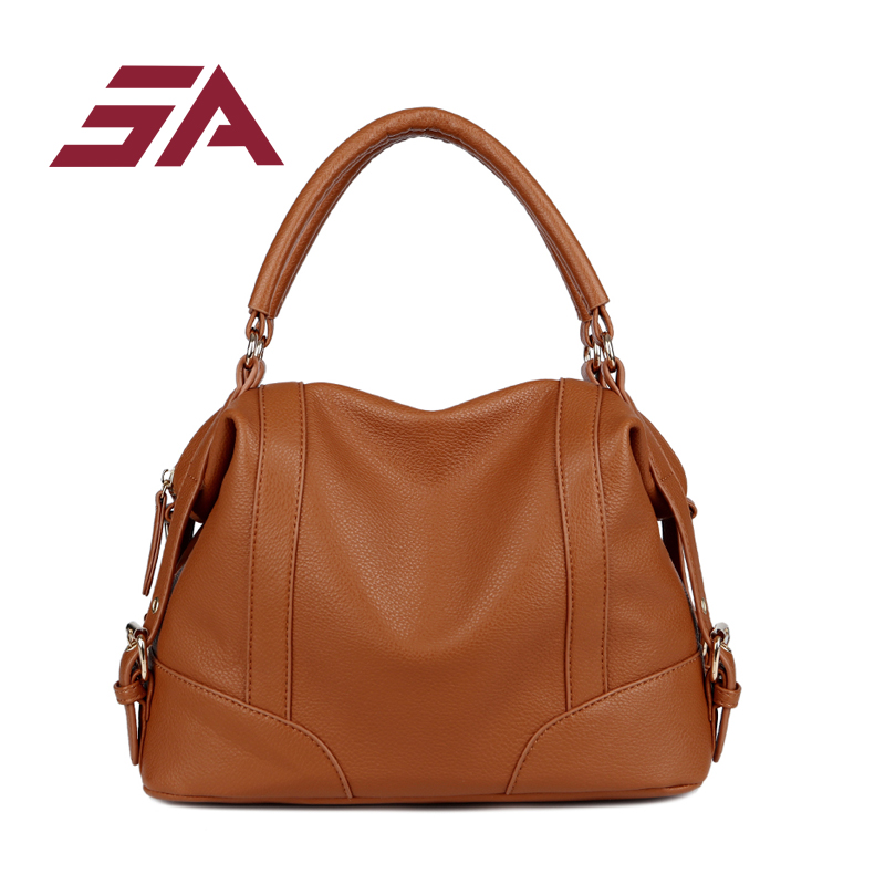 SA brand fashion PU leather women shoulder bag female handbag ladies crossbody solid  large capacity shopping travel bag