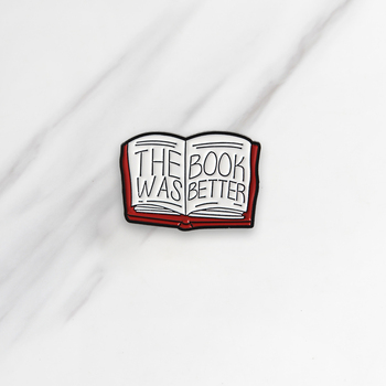 THE BOOK WAS BETTER Enamel Brooches Red Book Button Pins for clothes Badge Reading Book Jewelry Gift for friends kids image