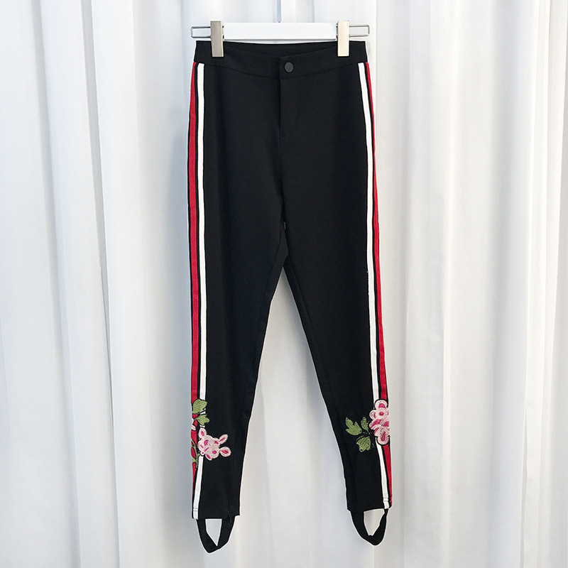 New wish high quality Haren trousers embroidery stripes pure cotton autumn and winter women s pants