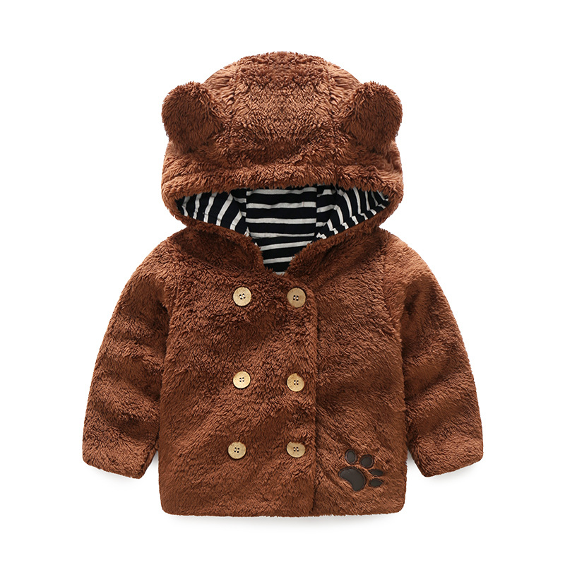 BINIDUCKLING Children Clothing bear Cartoon Outwear Child Boys Girls Winter Thickening Outerwear Coat Kids cotton-padded jacket