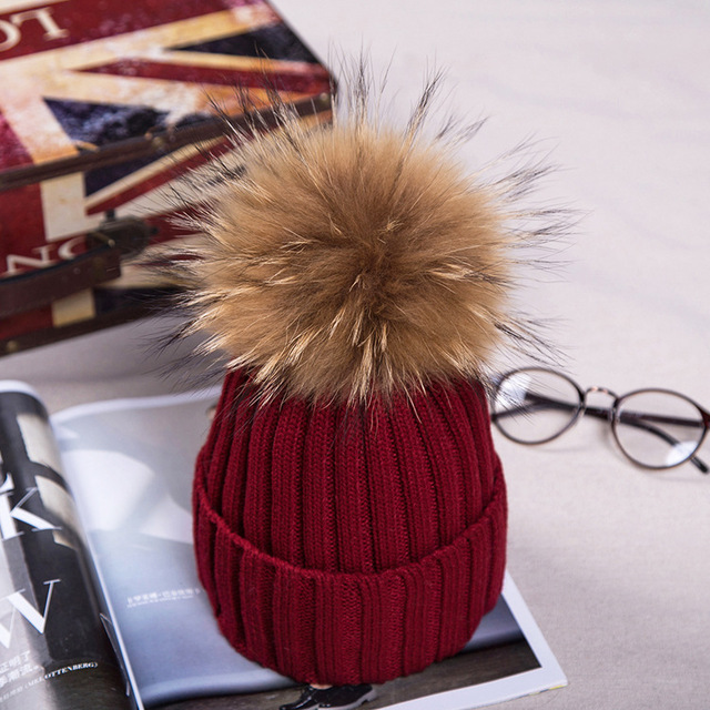 Free shipping, Women's Natural pom pom hat for winter, Knit beanie hat with Real Fur pompon