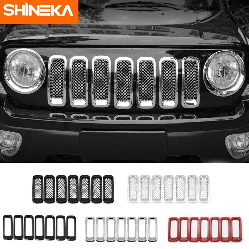 SHINEKA гоночные решетки ABS автомобиля Передняя сетка гриль решетка украшения крышка отделка наклейки для Jeep Патриот 2011 2016 аксессуары