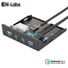 En-Labs USB 3.0 +USB Quick Fast Charge Port 3.5 Front Panel Audio Jack Microphone ,QC3.0 5V/ 2.4A or BC1.2 2.1A Charging Port цена