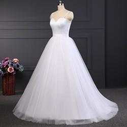 LORIE Spaghetti Strap Beach Wedding Dresses 2019 Vestido Noiva Praia Simple White Tulle Casamento Sashes Bridal Gown Custom made 4
