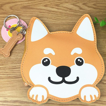 M145 Coin Purses Cute Puppy Husky Dog Avatar PU Leather Zipper Zero Purses Key Buckle Wallet image