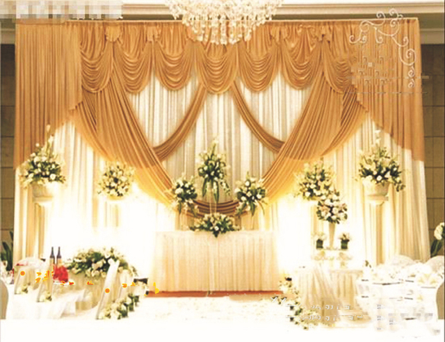 10ft 20ft Golden Wedding Backdrop Drapes Curtain Wholesale Stage