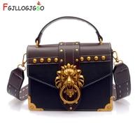Fashion Women Designer Wallet Handbags Metal Lion Head Mini Small Square Pack Shoulder Bag Crossbody Package Clutch Bolsos Mujer