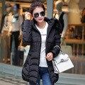 Mujer Зимняя Куртка Женщин Меховой Капюшон Хлопка Ватник в длинный отрезок хлопок новый женский зимний пуховик шерстяное пальто воротник