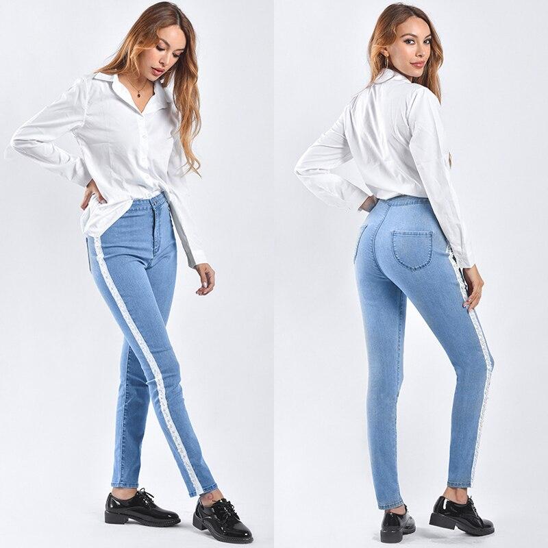Perles Arc Crayon Pantalon Femmes Jeans Casual Longue Dame Crayon Pantalon Taille Haute Perles Split Femelle Stretch Denim Streetwear