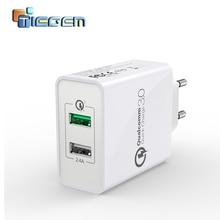 Сетевое зарядное устройство TIEGEM, 30 Вт, Quick Charge 3,0, USB, адаптер, вилка стандарта ЕС и США, универсальное дорожное зарядное устройство, мобильный телефон, зарядное устройство для samsung, iphone