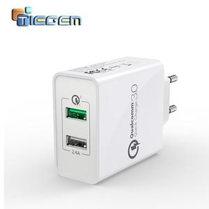 Image 1 - TIEGEM 30 watt Quick Charge 3,0 USB Wand Ladegerät Adapter EU US Stecker Universal Reise Ladegerät Handy Ladegerät für samsung iphone