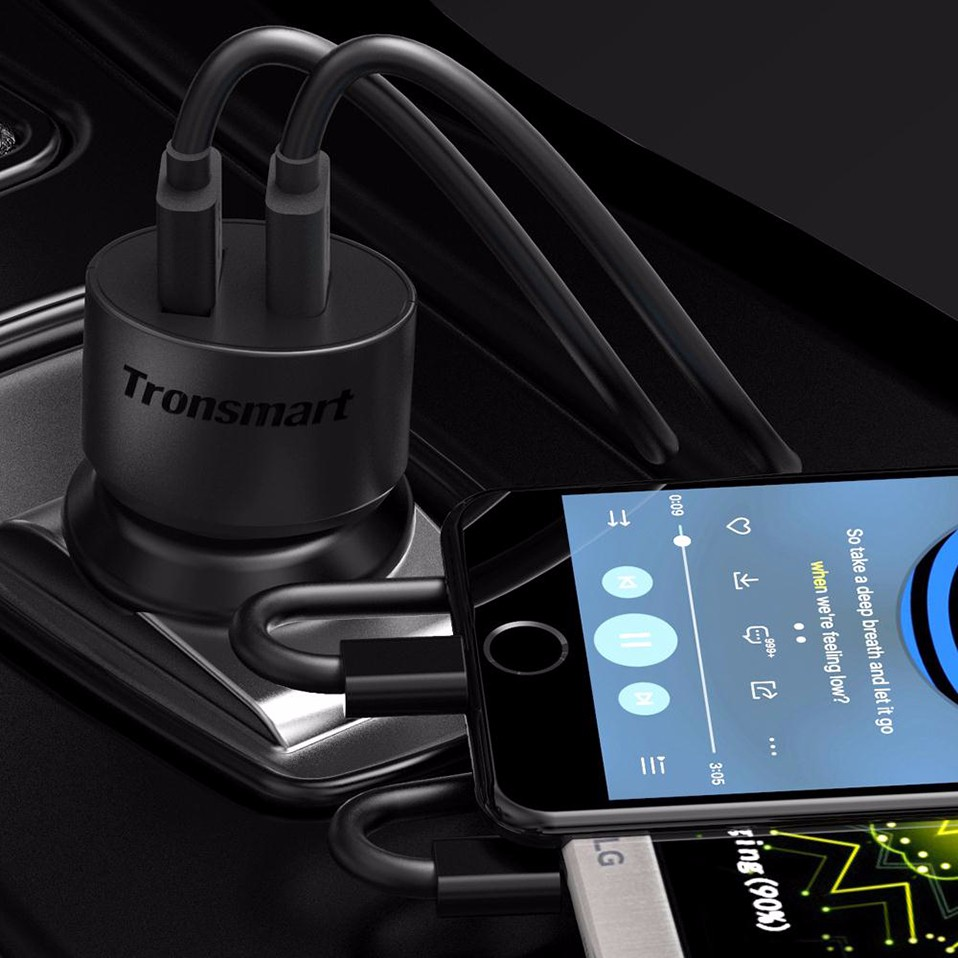 [One Year Warranty] Tronsmart CC2TF Car Charger Quick Charge 3.0 Two Ports USB Car-Charger for Xiaomi Mi5 for LG G5 in Stock (3)