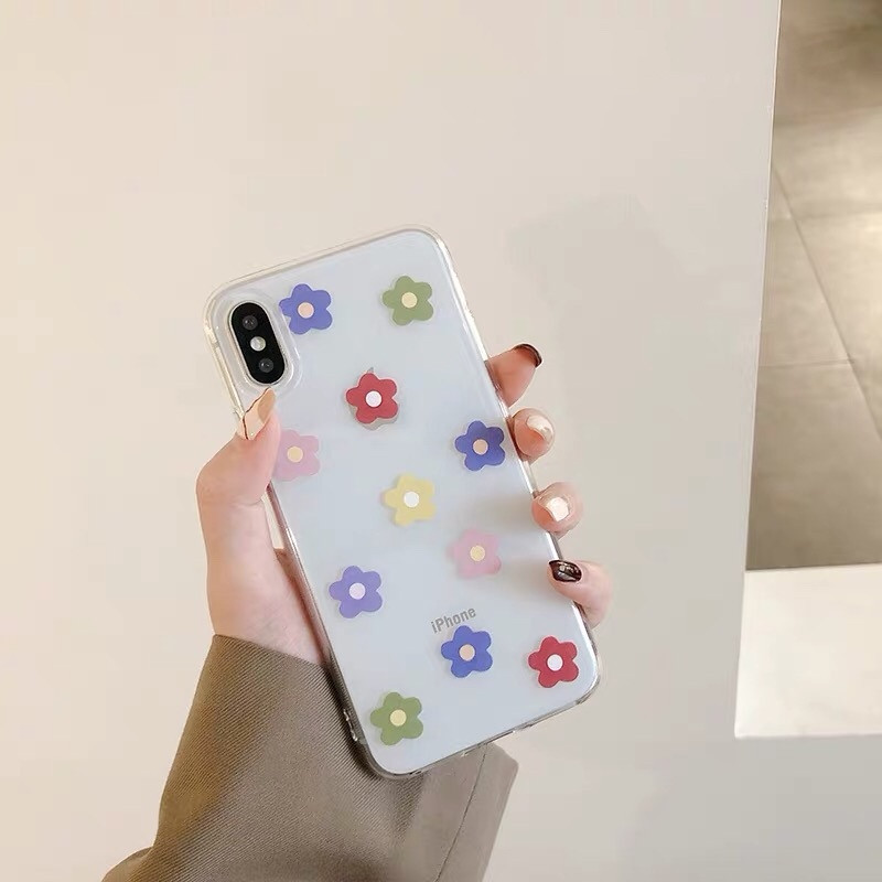 For iphone XS MXS XR X Fashion Transparent Flower phone case For iphone 6 6s 7 8plus Personality Cute TPU Soft Shell Back cover in Fitted Cases from Cellphones Telecommunications